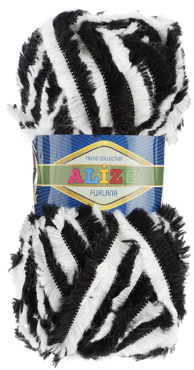 Пряжа для вязания Alize Furlana, цвет: черно-белый (5443), 40 м, 100 г, 5 шт582007_5443Alize Furlana - это полушерстяная пряжа для ручного вязания, имитирующая мех. Нить плотно скручена, гибкая, послушная. Стойкое равномерное окрашивание обеспечивает широкую палитру оттенков, высокое качество материала и используемых красителей защищает от потери цвета. Соотношение шерсти и акрила - формула практичности. Высокие тепловые характеристики сочетаются с эстетикой, носкостью и простотой ухода за вещью. Классическая пряжа для зимнего сезона, может использоваться для детской и взрослой одежды. Alize Furlana - универсальная пряжа, которая будет хорошо смотреться в узорах любой сложности. Рекомендуемые спицы для вязания: № 8-12 мм. Комплектация: 5 мотков. Состав: 45% шерсть, 45% акрил, 10% полиамид.