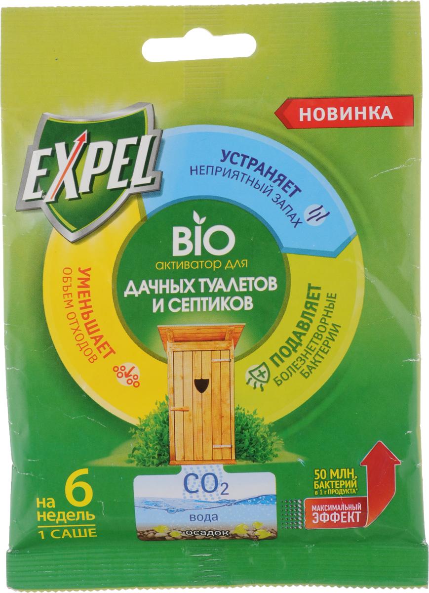 Bio активатор Expel для дачных туалетов и септиков, 75 гTS0002_Bio активатор Expel предназначен для ускоренного разложения органических отходов и устранения неприятных запахов в дачных туалетах и септиках. Bio активатор содержит концентрированные культуры бактерий, которые разлагают фекальные массы на воду, углекислый газ и соли. Средство также уменьшает объем содержимого осадка, подавляет рост болезнетворных микробов. Способ применения: Для септиков - высыпать содержимое в унитаз и смыть воду. Для туалетов с выгребной ямой - высыпать содержимое в яму. Bio активатор эффективно работает только в жидкой среде. Если яма обезвожена, необходимо добавить воды для покрытия содержимого. Не допускать высыхания ямы. Состав: = 30% носитель. Внимание! Bio активатор действует в течение 6 недель, максимальная эффективность наблюдается в первые 3 недели. Хлорсодержащие и дезинфицирующие средства могут снижать активность бактерий. Для усиления действия допускается ...