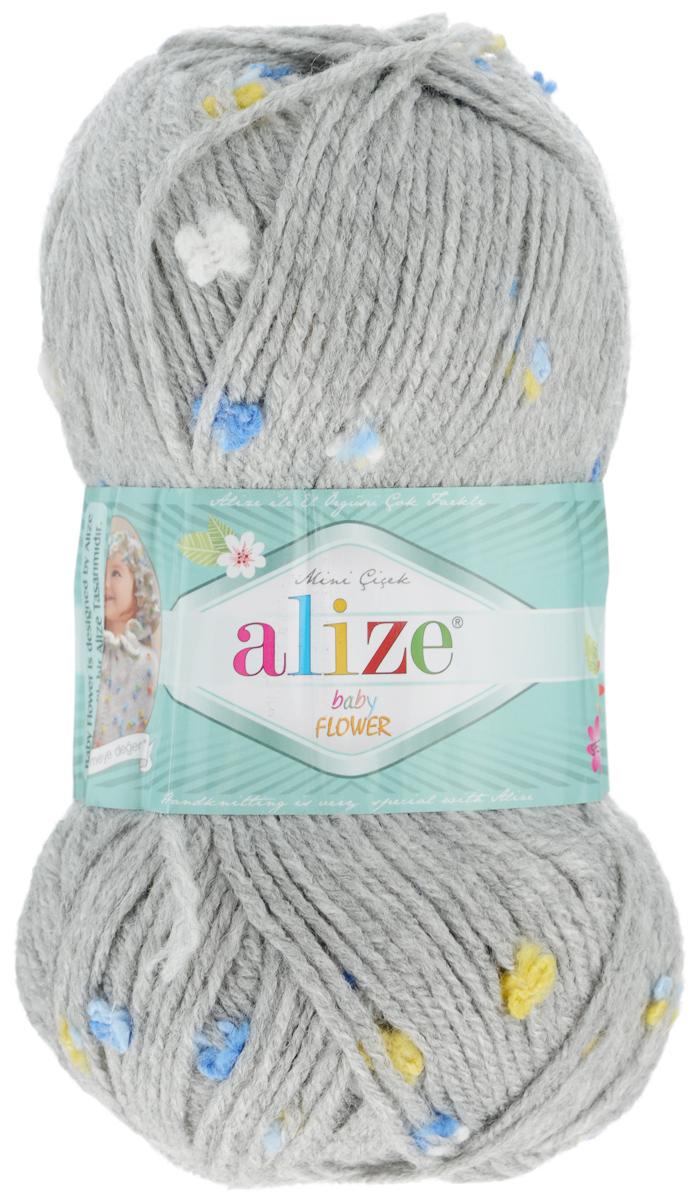 Пряжа для вязания Alize Baby Flower, цвет: серый, белый, голубой (5434), 210 м, 100 г, 5 шт582006_5434Alize Baby Flower - это фантазийная пряжа. Она будет хорошо смотреться на всевозможных детских изделиях (жилетах, платьицах, а также подходит для вязания шапок, шарфов, снудов). Качественно скрученная ровная нить состоит из 94% акрила и 6% полиамида, с пришитыми по всей длине маленькими цветочками. Теплая, мягкая пряжа предназначена для ручного вязания. Рекомендуемый размер спиц: № 3,5-4,5 мм, Рекомендуемый размер крючка: № 2-3 мм. Состав: 94% акрил, 6% полиамид.