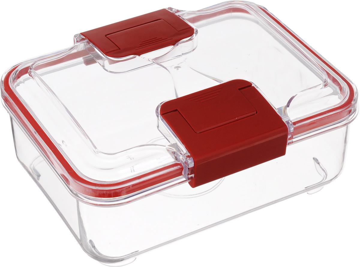 Контейнер Status, цвет: прозрачный, красный, 1 лRC10 RedПрямоугольный пищевой контейнер Status изготовлен из высококачественного пищевого пластика. Контейнер безопасен для здоровья, не содержит BPA. На крышке имеется прорезиненный обод, который способствует более герметичному закрыванию, в связи с чем продукты дольше сохраняют свои свойства. Прозрачные стенки позволяют видеть содержимое. Контейнер закрывается при помощи двух защелок. Можно мыть в посудомоечной машине. Контейнер подходит для использования в морозильной камере и СВЧ.