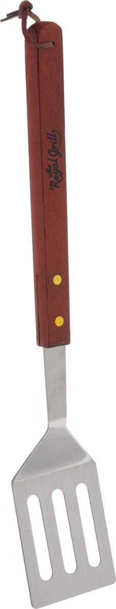 Лопатка для гриля RoyalGrill, длина 40 см80-008Лопатка для гриля RoyalGrill выполнена из нержавеющей стали и дерева. Удобная лопатка займет достойное место среди аксессуаров на вашей кухне. Оригинальный дизайн и качество исполнения не оставят равнодушными ни тех, кто любит готовить, ни опытных профессионалов-поваров. Лопатка для гриля позволит легко переворачивать продукты на гриле. Очень удобная ручка не позволит выскользнуть лопатке из вашей руки, а благодаря кожаной петле на ручке можно подвесить изделие на кухне. Длина лопатки: 40 см. Размеры рабочей части: 7 х 8,5 х 0,2 см.