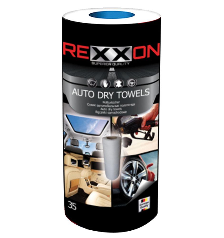 Полотенца для автомобиля Rexxon, сухие, 35 шт2-2-6-0-1Прекрасно подходят для удаления влаги и грязи Антистатический и полирующий эффект Можно использовать для сухой уборки любых поверхностей автомобиля Основа полотенец - высокоэкологичный материал спанлейс, содержащий не менее 50% вискозы, гипоаллергенный