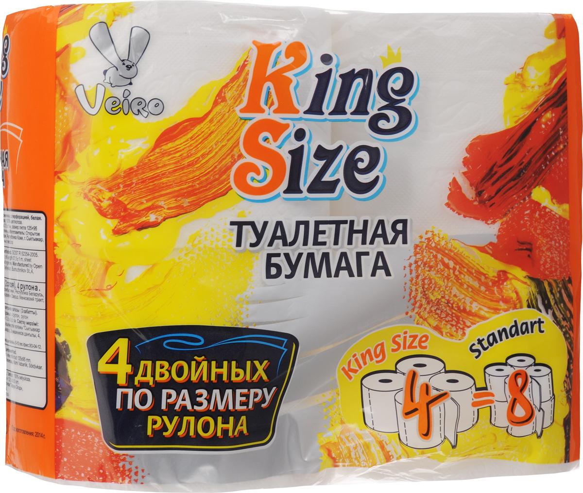 Бумага туалетная Veiro King Size, двухслойная, 4 рулона6C24ПТуалетная бумага Veiro King Size, выполненная из натуральной целлюлозы, обеспечивает превосходный комфорт и ощущение чистоты и свежести. Необыкновенно мягкая, но в тоже время прочная, бумага не расслаивается и отрывается строго по линии перфорации, не вызывает аллергии и раздражения. Двухслойные листы имеют рисунок с перфорацией. Количество слоев: 2. Размер листа: 12,5 х 9,5 см. Длина намотки: 37,5 м. Состав: 100% целлюлоза.