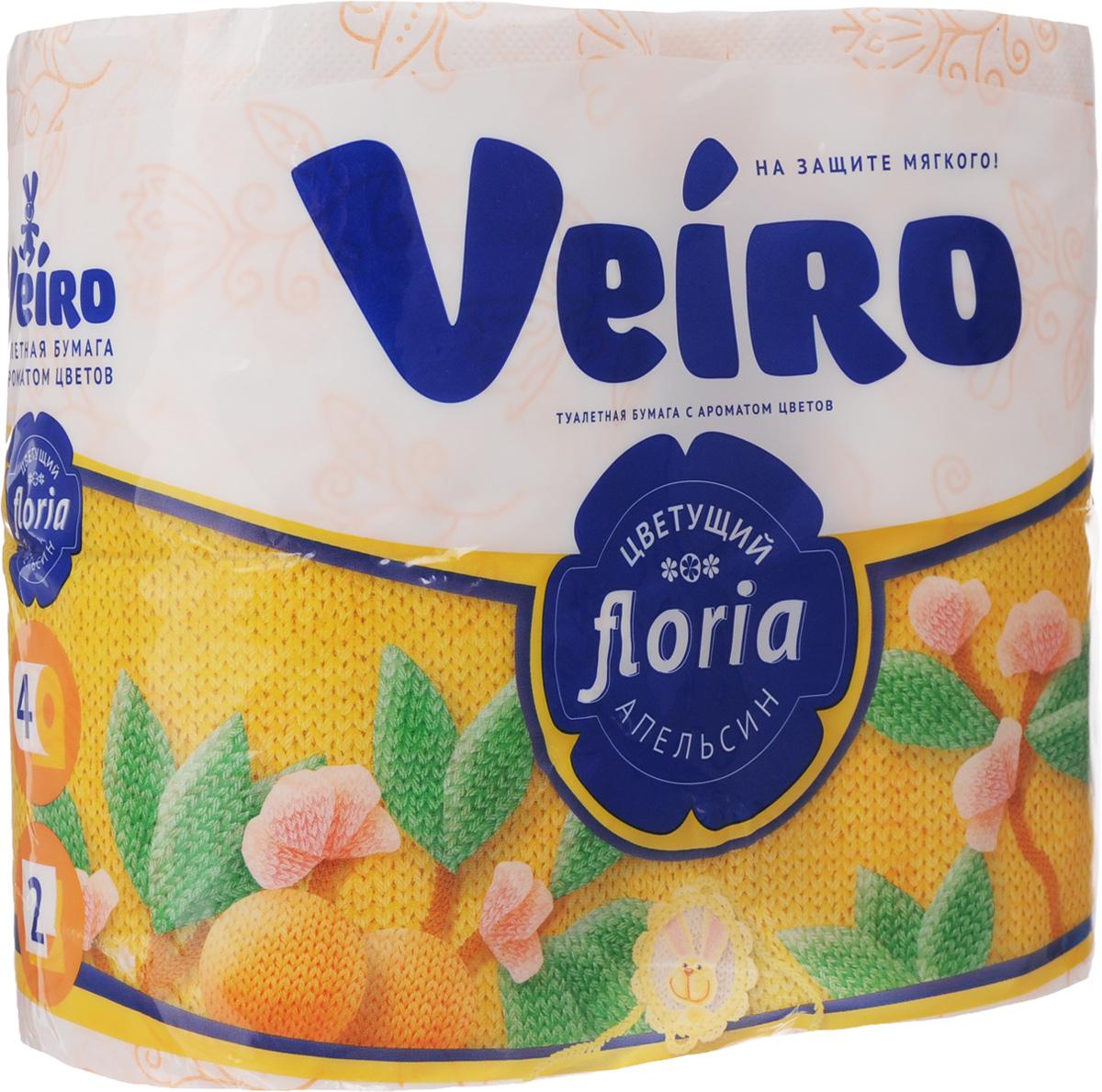 Бумага туалетная Veiro Floria. Цветущий апельсин, ароматизированная, двухслойная, 4 рулона4С24А1Ароматизированная туалетная бумага Veiro Floria. Цветущий апельсин, выполненная из натуральной целлюлозы и обладает приятным ароматом цитруса. Двухслойная туалетная бумага мягкая, нежная, но в тоже время прочная, с отрывом по линии перфорации. Листы имеют рисунок с тиснением. Длина рулона: 21,9 м. Количество слоев: 2. Размер листа: 12,5 х 9,6 см. Состав: 100% целлюлоза.