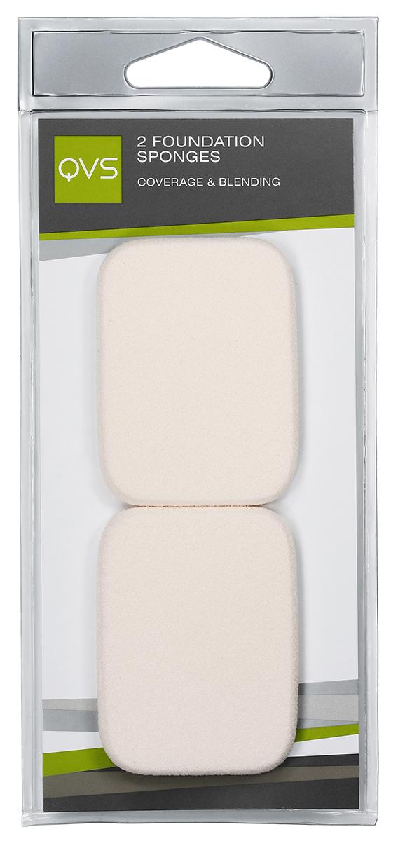 QVS Спонжи прямоугольные для нанесения основы макияжа любого типа (кремообразной и водной); 2 шт