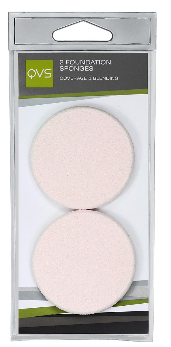 QVS Спонжи круглые для нанесения основы макияжа любого типа (кремообразной и водной); 2 шт