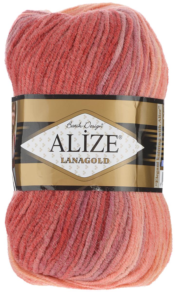 Пряжа для вязания Alize Lanagold Batik Design, цвет: красный, розовый, оранжевый (4742), 240 м, 100 г, 5 шт364096_4742Полушерстяная пряжа Lanagold Batik Design - настоящая зимняя классика. Изделия из такой пряжи отлично поднимают настроение разнообразием своих красок. Большой выбор вариантов меланжевых расцветок позволяет создавать от веселых детских шапочек до элегантных женских пончо и солидных мужских пуловеров. С пряжей Lanagold Batik Design не требуется вывязывания узоров высокой сложности, так как пряжа эта отлично смотрится в любых косах и даже в простой чулочной вязке. Благодаря секционно окрашенной нити изделия получаются весьма оригинальными, стильными и нарядными. Кроме того, пряжа удобна в работе: средней толщины ниточка плотно скручена, упругая, гладкая, легко ложится и не слоится - с ней даже неопытная рукодельница справится без труда. Рекомендуемый размер спиц: №4-6 мм. Состав: 51% акрил, 49% шерсть.