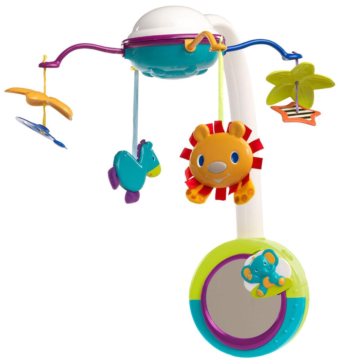 Bright Starts Музыкальный мобиль Сафари 2 в 18352Яркий музыкальный мобиль Сафари - оригинальная музыкальная игрушка, создающая атмосферу уюта и спокойствия в детской комнате. Под приятные мелодии на мобиле медленно вращаются разноцветные пластиковые игрушки: лев, зебра, спираль и звезда. К стойке мобиля крепится съемный музыкальный блок, в центре которого расположено зеркало. Когда малыш подрастет, музыкальный блок можно будет закрепить на бортике кроватки, и ребенок сможет смотреться в зеркало и слушать мелодии самостоятельно. Мобиль воспроизводит 5 различных мелодий. Подвесные игрушки привлекут внимание малыша и помогут развитию зрения и цветового восприятия, а мелодичные звуки разовьют звуковое восприятие. Работает от 3 батареек типа C/LR14 (не входят в комплект).