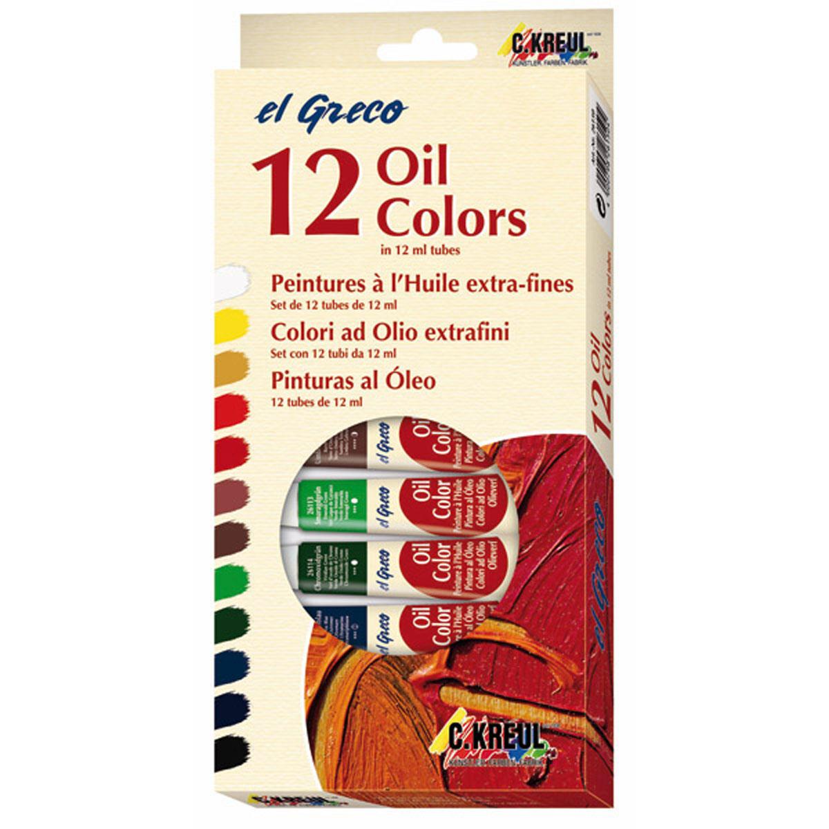 Краски масляные Kreul El Greco, 12 цветовKR-26150Практичный и удобный набор масляных красок для начинающих художников. Для изготовления красок подбираются пигменты только высочайшего качества и чистые масла растительного происхождения. Масляные краски обладают особенной светостойкостью, яркостью и блеском.