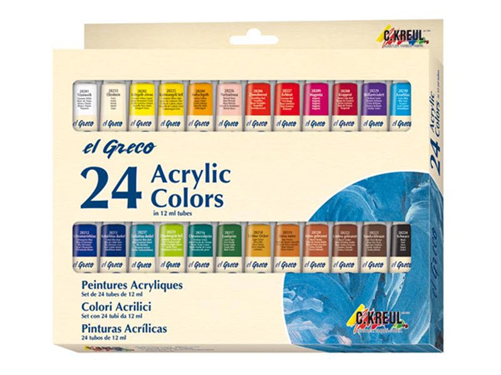 Краски акриловые Kreul El Greco, 24 цветаKR-28253Набор художественных акриловых красок для учащихся и профессионалов. На водной основе для таких поверхностей, как холст, картон, бумага, камень, металл, кожа и многих других. Краски быстро сохнут, создавая при этом глянцевую поверхность, разбавляются водой, хорошо смешиваются друг с другом. Краски обладают яркими, светостойкими и укрывистыми цветами, могут быть как покрывными, так и прозрачными, наносятся кистью или мастихином, после высыхания поверхность становится водостойкой и эластичной. Состав: 24 акриловые краски в алюминиевых тубах по 12 мл
