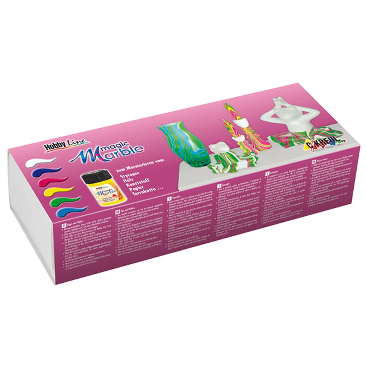 Набор красок для марморирования Magic Marble Swing StyleKR-73612Прекрасный набор ярких красок для создания эффекта «мрамора» на изделиях из дерева, стекла, бумаги, металла, пластика, ткани, терракоты, пенопласта и керамики. Применение: перед окрашиванием поверхность необходимо обезжирить. Рекомендуется использовать одновременно не более 3 цветов. Порядок, в котором разводятся краски в воде, будет играть роль в создании узора. Первый цвет будет частично замещён вторым, т.е. второй цвет станет более насыщенным. Для одноцветного марморирования используют бесцветную краску и выбранный цвет. Краски можно смешивать друг с другом, создавая собственный цвет. Работы по марморированию слудует проводить быстро, иначе красочная плёнка застынет на поверхности воды. Оригинальные цвета могут получиться только на белой поверхности. Краски, нанесённые на тёмную поверхность (дерево и т.д.), дадут более тёмный цвет по сравнению с исходным. Перед марморированием ткани проверьте действие красок на небольшом фрагменте. 1. Наполните водой ёмкость, которая сможет...
