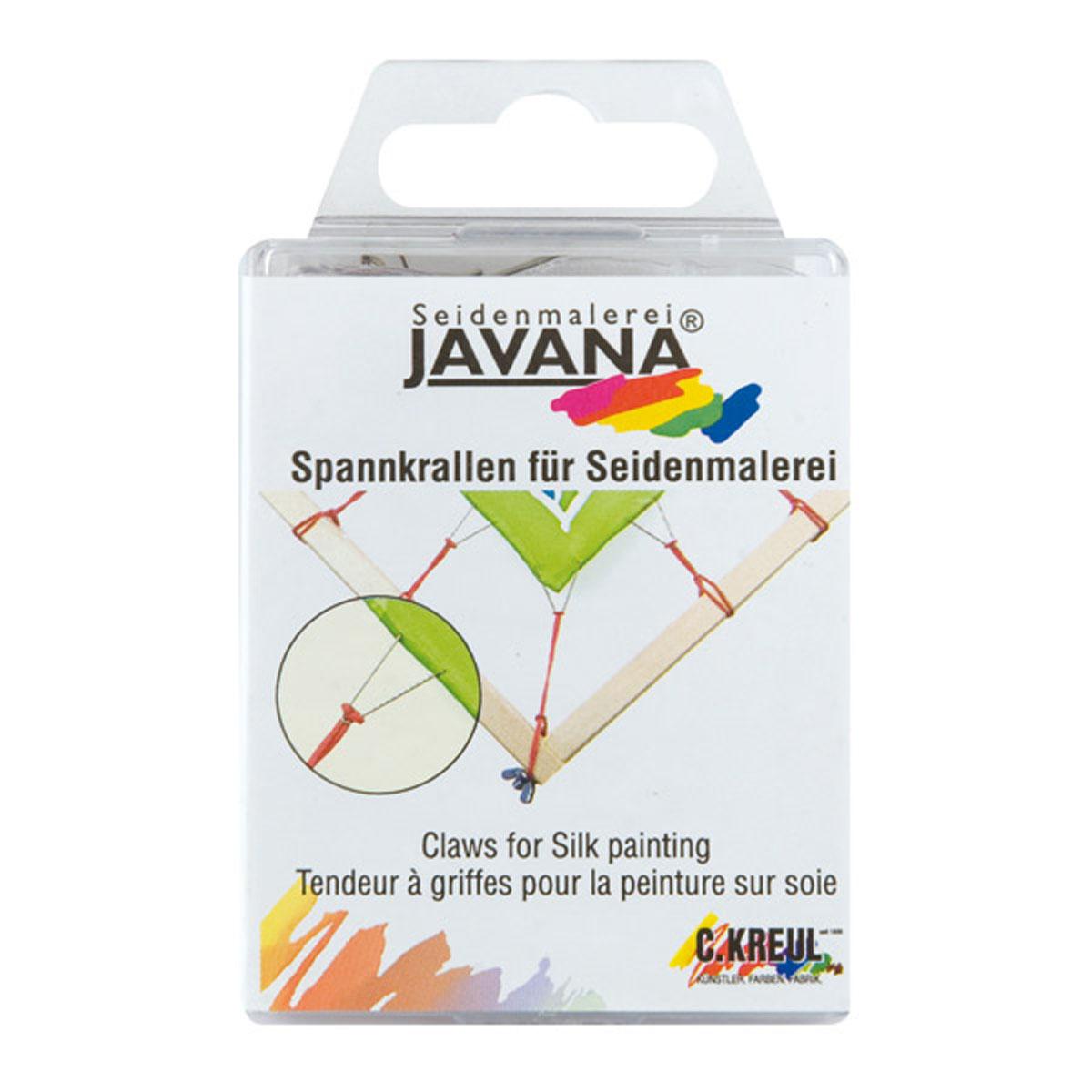 Крюки Kreul Javana, двузубые, 24 штKR-810024Крюки-двузубцы из нержавеющего металла для подрубленной ткани, с резинками для прикрепления к раме. В наборе 24 штуки.