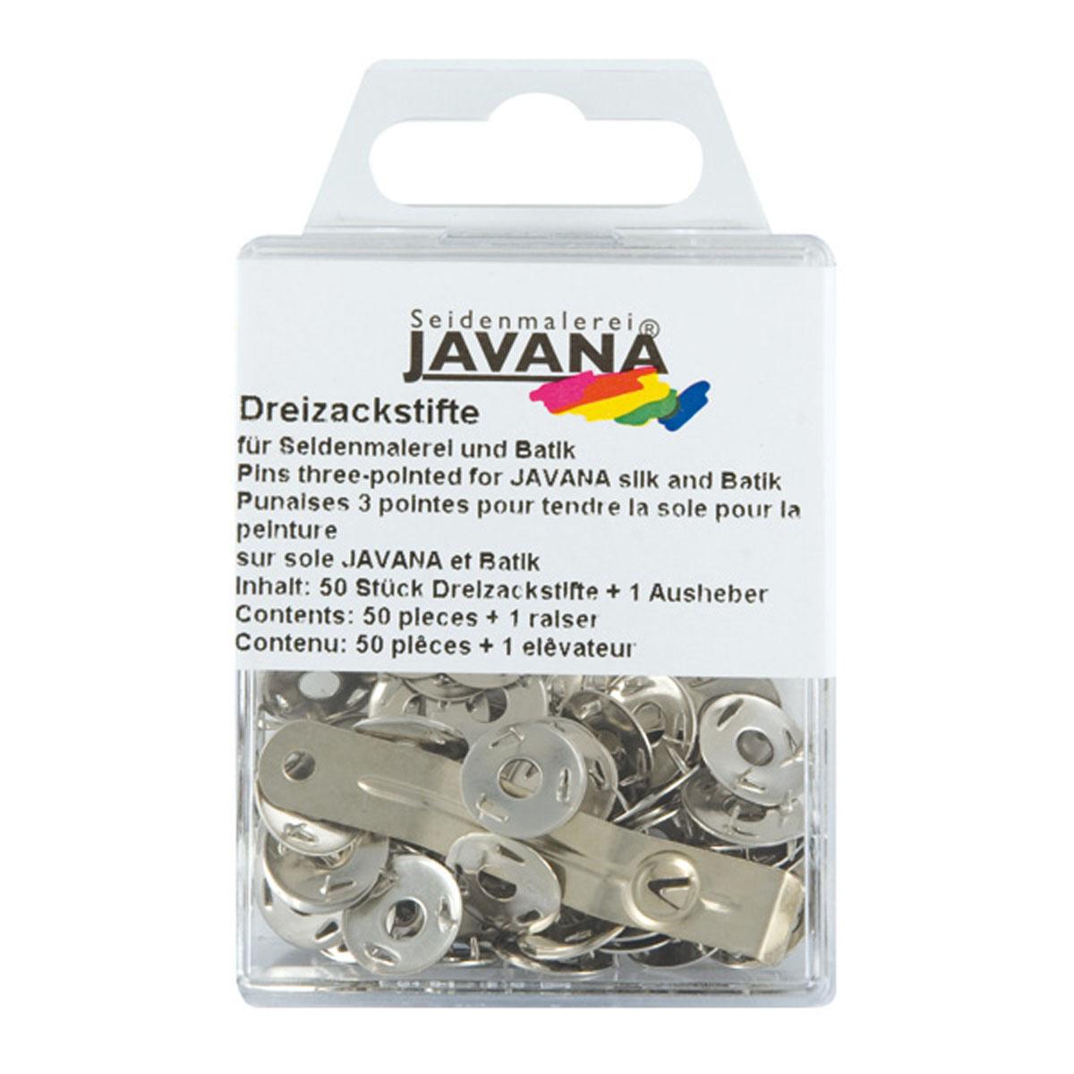 Кнопки канцелярские Kreul Javana, трехзубые, 50 штKR-810050Кнопки из нержавеющего металла 3-язычковые для натяжения и крепления шелка к раме. Применяются при росписи по шелку. В комплект входит инструмент для удаления кнопок. 50 штук в наборе.