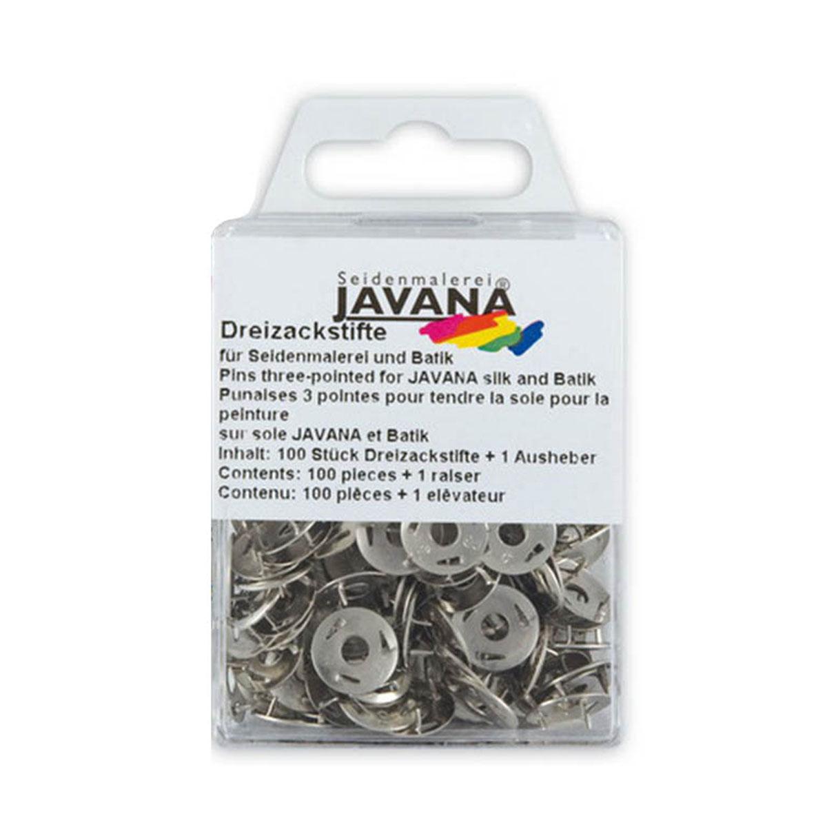 Кнопки канцелярские Kreul Javana, трехзубые, 100 штKR-810100Кнопки из нержавеющего металла 3-язычковые для натяжения и крепления шелка к раме. Применяются при росписи по шелку. В комплект входит инструмент для удаления кнопок. 100 штук в наборе.