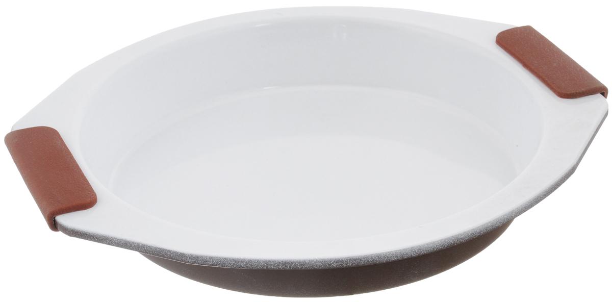 Форма для выпечки Guterwahl, с керамическим покрытием, круглая, диаметр 26,5 смEC-RS65-CERФорма для выпечки Guterwahl изготовлена из углеродистой стали с керамическим покрытием, благодаря чему пища не пригорает и не прилипает к стенкам посуды. Кроме того, готовить можно с добавлением минимального количества масла и жиров. Керамическое покрытие также обеспечивает легкость мытья. Форма идеально подходит для выпечки кексов, пирогов. Изделие имеет литые ручки с силиконовыми вставками, что существенно облегчает процесс готовки. Не рекомендуется мыть в посудомоечной машине. Внутренний диаметр формы: 23 см. Внешний размер формы (с учетом ручек): 29,5 х 26,5 см. Высота стенок формы: 4 см.