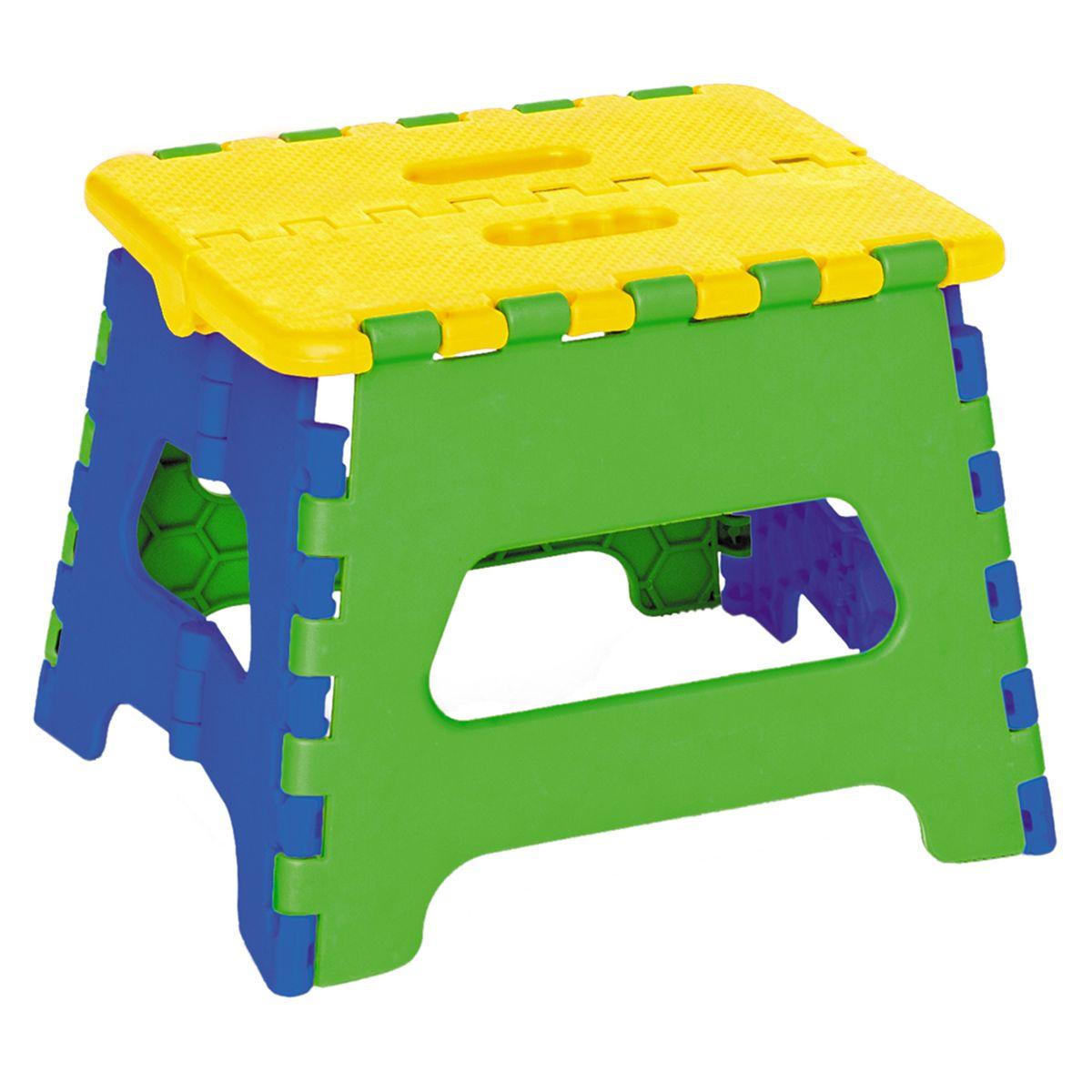 Art Moon Стульчик-подставка Maja цвет желтый зеленый синий699522Artmoon MAJA Пластиковый складной стульчик-стремянка. Выдерживает вес до 60 кг. Яркие цвета, удобный размер, устойчивость, удобная ручка для переноски в сложенном виде - идеален для детской. Размер: 24x17x18 см, компактный в сложенном виде (24x26,5x4 см). Материал полипропилен.