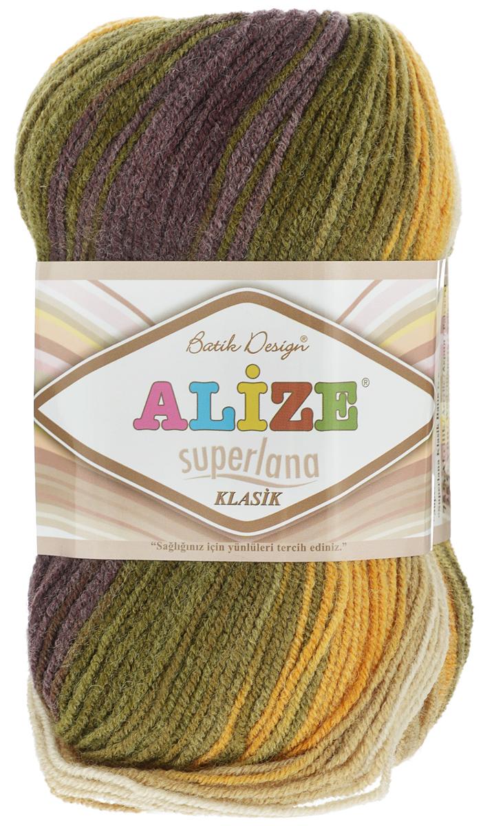 Пряжа для вязания Alize Superlana Klasik Batik, цвет: бежевый, зеленый, фиолетовый (5850), 280 м, 100 г, 5 шт364120_5850Классическая пряжа Alize Superlana Klasik Batik имеет среднюю толщину нити и состоит из 25% шерсти и 75% акрила. Подходит для вязания теплых вещей. Пуловеры, платья, кардиганы, шапки и шарфы из этой пряжи отлично держат форму и прекрасно согреют вас в холодную погоду. Благодаря составу и скрутке, петли отлично ложатся одна к другой, вязаное полотно получается ровное и однородное. Пряжа рассчитана на любой уровень мастерства, но особенно понравится начинающим мастерицам - благодаря толстой нити пряжа Alize Superlana Klasik Batik позволяет быстро связать простую вещь. Структура и состав пряжи максимально комфортны для вязания. Рекомендуемый размер спиц и крючка: № 3-4 мм. Состав: 75% акрил, 25% шерсть.