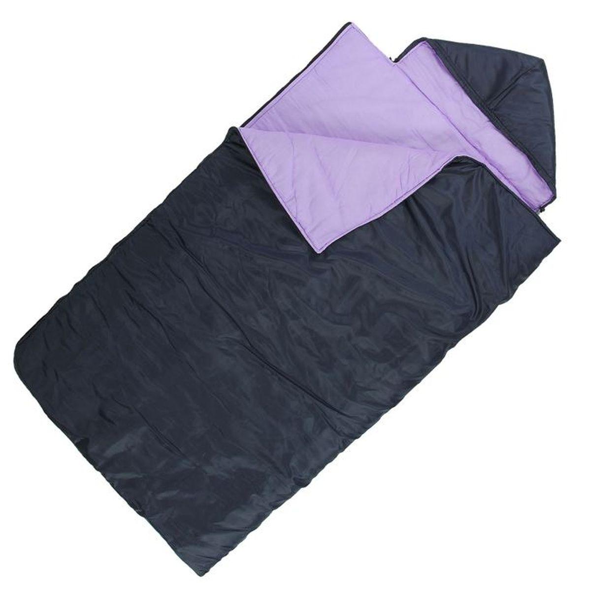 Спальный мешок Onlitop Престиж, увеличенный, цвет: черный, фиолетовый, правосторонняя молния. 10090811009081Комфортный, просторный и очень теплый 3-х сезонный спальник предназначен для походов и для отдыха на природе не только в летнее время, но и в прохладные дни весенне-осеннего периода. В теплое время спальный мешок можно использовать как одеяло (в том числе и дома).