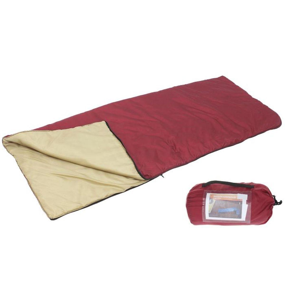Спальный мешок Onlitop, цвет: красный, бежевый, правосторонняя молния1313769Комфортный, просторный и очень теплый 3-х сезонный спальник предназначен для походов и для отдыха на природе не только в летнее время, но и в прохладные дни весенне-осеннего периода. В теплое время спальный мешок можно использовать как одеяло (в том числе и дома).
