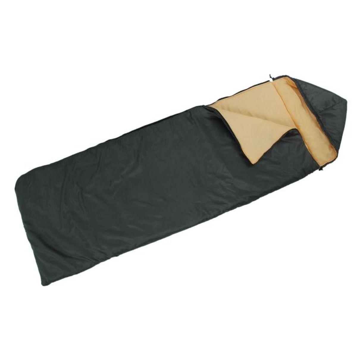 Спальный мешок Onlitop Престиж, цвет: черный, бежевый, правосторонняя молния. 13440271344027Комфортный, просторный и очень теплый 3-х сезонный спальник предназначен для походов и для отдыха на природе не только в летнее время, но и в прохладные дни весенне-осеннего периода. В теплое время спальный мешок можно использовать как одеяло (в том числе и дома).
