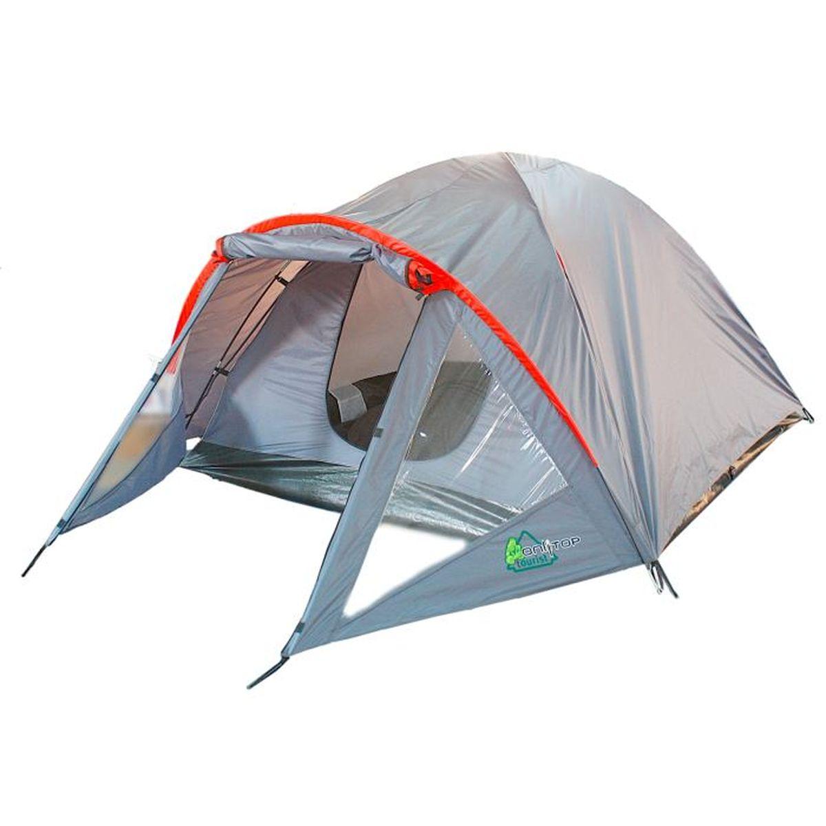 Палатка туристическая Onlitop DISCOVERY 2, цвет: серый776300Если вы заядлый турист или просто любитель природы, вы хоть раз задумывались о ночёвке на свежем воздухе. Чтобы провести это время с комфортом, вам понадобится отличная палатка, такая как DISCOVERY. Она обеспечит безопасный досуг и защитит от непогоды и насекомых. Дополнительным преимуществом данной модели является тамбур, с помощью которого вы можете сэкономить пространство и разместить вещи. Ткань рипстоп гарантирует длительную эксплуатацию палатки за счёт высокой прочности материала.