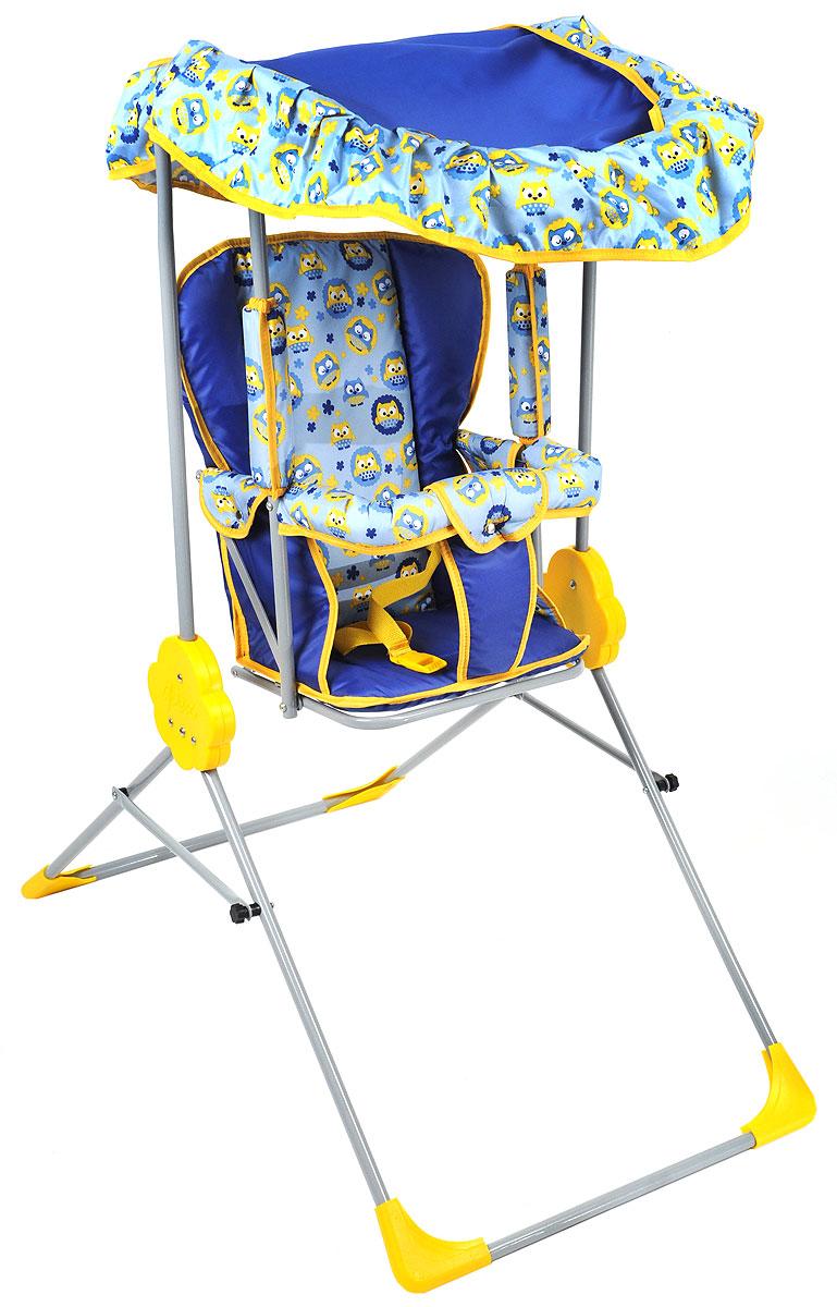 Фея Качели детские Малыш с тентом цвет синий голубой4289_синий, голубой, совыДетские качели Фея Малыш приведут в восторг любого маленького непоседу! Качели предназначены для развлечения и развития вестибулярного аппарата малышей. Качели выполнены из металла и имеют складную конструкцию, благодаря чему их удобно транспортировать и хранить. Сиденье имеет спинку и оснащено металлической планкой безопасности, которая не позволит малышу соскользнуть с сиденья. Сиденье дополнено съемным мягким чехлом, который оформлен забавными рисунками и оснащен ремнем безопасности. Качели также оборудованы съемным тентом из водоотталкивающей ткани, который надежно защитит вашего малыша от солнца и легкого дождя. Качели доставят массу удовольствия вашему малышу, они невероятно просты и удобны в использовании. В сложенном состоянии качели очень компактны и занимают мало места, поэтому их можно брать с собой на природу или в поездку. Предельно допустимая нагрузка составляет 15 кг.