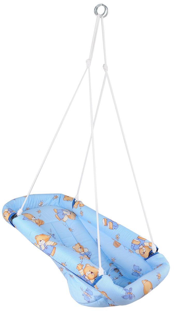 Фея Качели-гамак Комфорт Мишки и бабочки цвет голубой4258_голубой, мишки, бабочкиКачели-гамак Фея Комфорт. Мишки и бабочки - это небольшое уютное местечко для малыша, аналог подвесной люльки. Гамак выполнен из 100% хлопчатобумажной ткани. Изделие имеет мягкое сиденье и оснащено ремнями безопасности. Бортики гамака защищены мягким наполнителем. Гамак подвешивается с помощью небольших тросов на металлические кольца. Его можно легко сложить, при хранении не занимает много места.