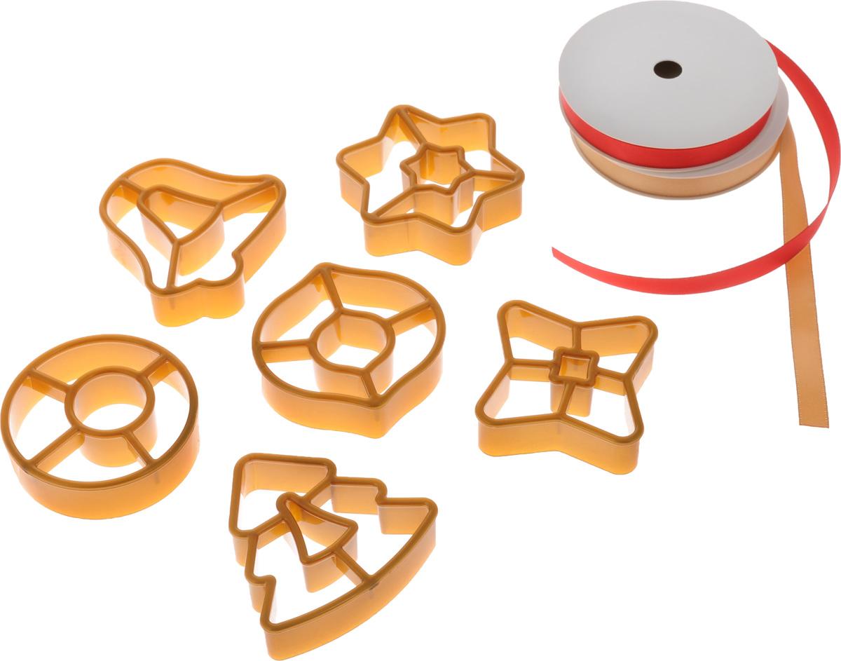 Набор форм для изготовления пряников Tescoma Delicia. Рождественские украшения, с кольцом для хранения и лентами, 9 предметов630916Набор Tescoma Delicia. Рождественские украшения состоит из 6 пластиковых формочек, двух лент и кольца для хранения формочек. Такой набор отлично подойдет для изготовления оригинальных пряничных украшений для рождественской елки и для приготовления традиционного рождественского печенья. Инструкция по применению и рецепт внутри упаковки. Пластиковые части можно мыть в посудомоечной машине. Средний размер формочек: 6 х 6 см. Длина лент: 3 м.