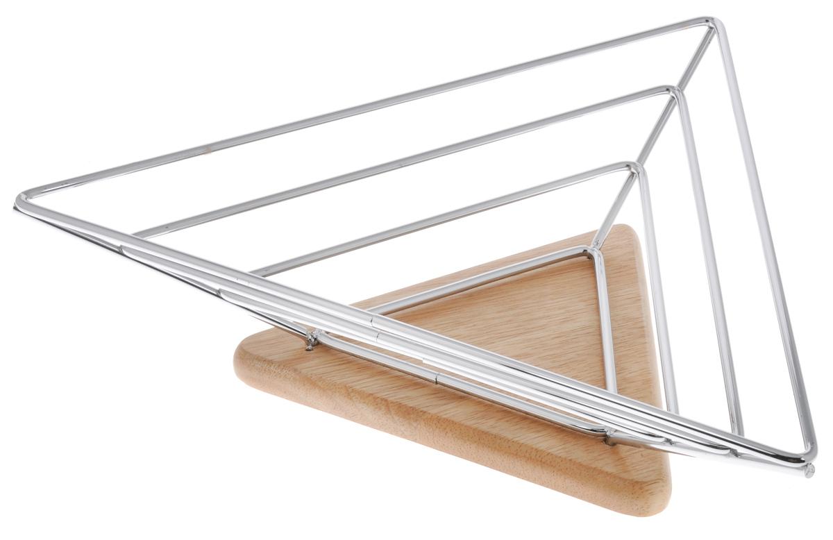 Фруктовница Olaff, треугольная, 35 x 31 x 8,5 смYSH-1151Оригинальная фруктовница Olaff, изготовленная из нержавеющей стали с хромированной поверхностью на деревянной подставке, идеально подходит для хранения и красивой сервировки любых фруктов. Современный дизайн фруктовницы идеально впишется в интерьер вашей кухни. Изделие рекомендуется мыть вручную с применением любых неабразивных моющих средств. Не рекомендуется использование металлических щеток для чистки. Размер фруктовницы: 35 х 31 см. Высота: 8,5 см.