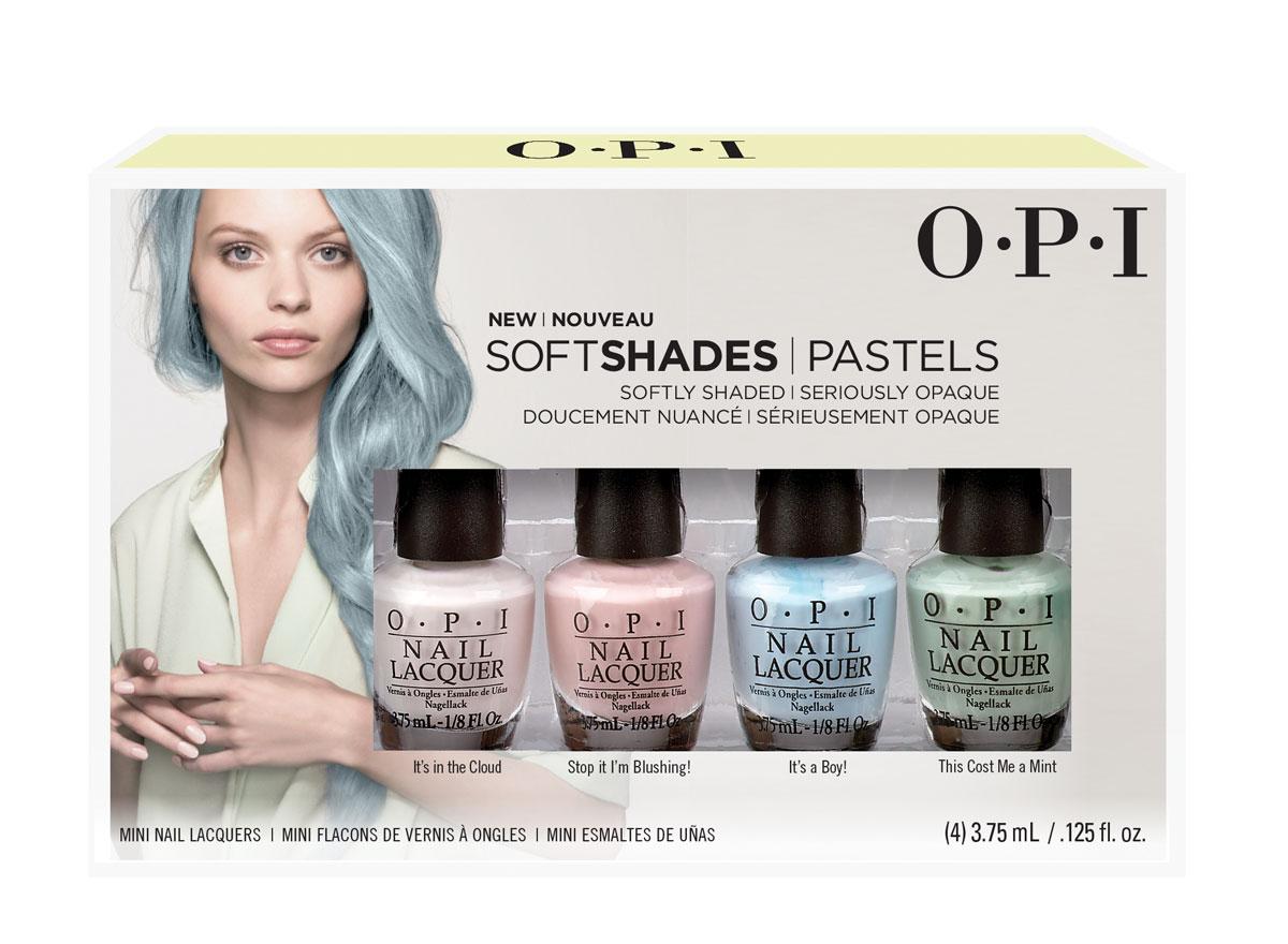 OPI Коллекция мини-лаков Soft Shades Pastels Mini Pack, 4*3,75 млDDS33Лак для ногтей OPI быстросохнущий, содержит натуральный шелк и аминокислоты. Увлажняет и ухаживает за ногтями. Форма флакона, колпачка и кисти специально разработаны для удобного использования и запатентованы.