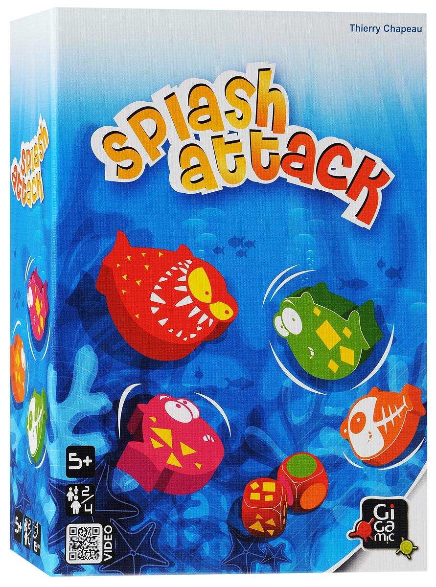 Gigamic Настольная игра Splash Attack3421271201342В весёлой детской игре Gigamic Splash Attack игрокам надо быстрее своих соперников наловить (и съесть!) как можно больше рыбок. Игроки бросают специальные кубики, чтобы определить, какую рыбу сейчас можно ловить, а дальше они должны постараться схватить её раньше других. Тот, кому это удалось, в следующий раз при выпадении такого же сочетания, будет стараться схватить красную пиранью, чтобы съесть свою рыбу... Игра очень проста в освоении, но при этом весьма забавна - весёлая кутерьма за столом вам гарантирована, а большие и яркие деревянные рыбки радуют глаз. Splash Attack заставляет игроков быстро принимать решение и развивает реакцию. Рекомендуем детским компаниям. Состав игры: 10 больших деревянных рыбок: 3 рыбки с изображением кругов, 3 - с изображением треугольников, 3 - с изображением квадратов в каждом из 3-х цветов (оранжевом, зеленом, синем), 1 красная пиранья; 2 специальных кубика, тканевый мешочек, правила игры на русском языке.