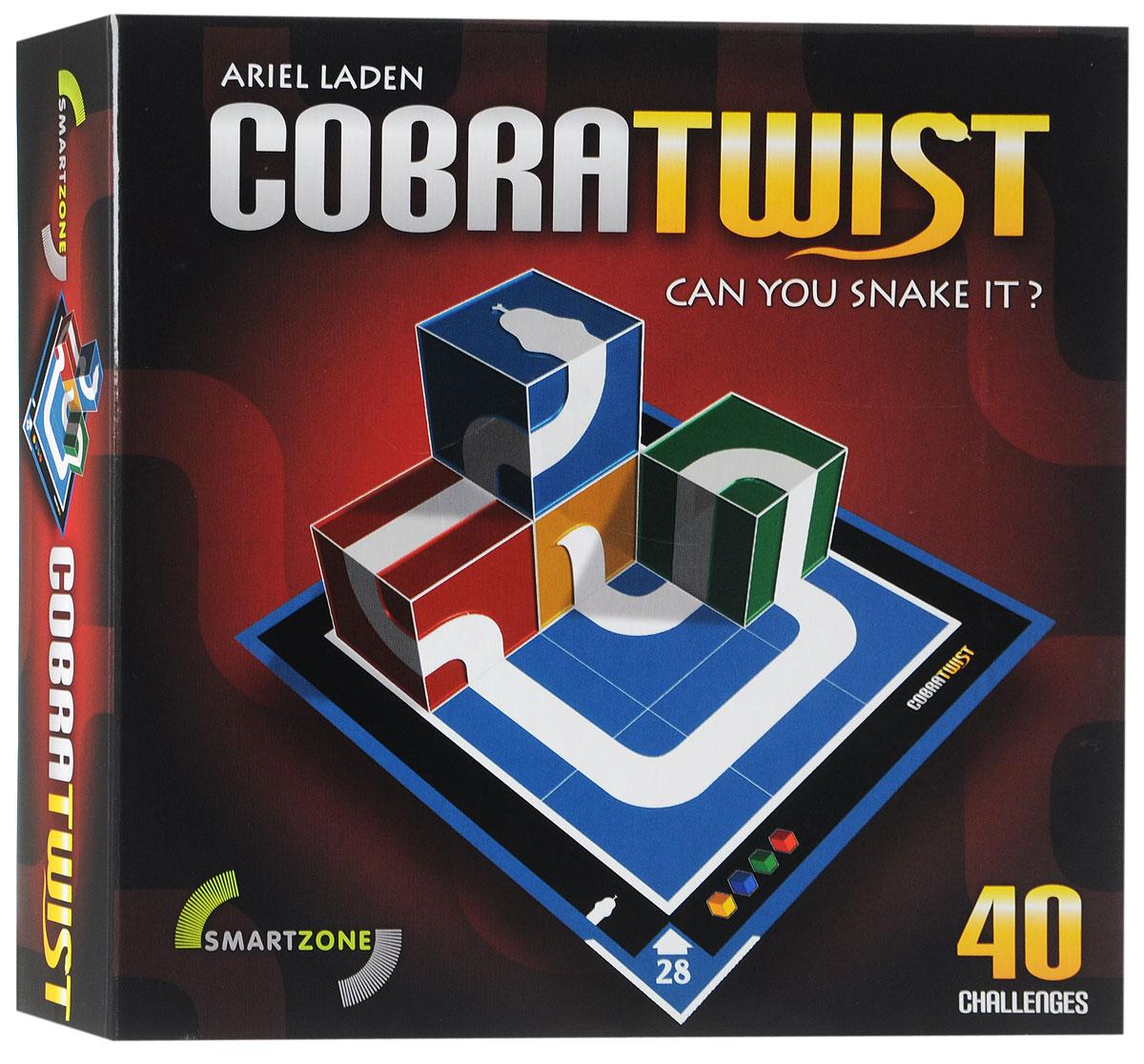 Smartzone Настольная игра Кобра-ТвистУТ000002381Отличная настольная игра Smartzone Кобра-Твист, сочетающая в себе логику и пространственное мышление. Цель игры - составлять объемных змей, выкладывая кубики на игровые карточки в правильном порядке. На каждой карточке уже нарисована часть змеи, вам остается заполнить пустые места кубиками так, чтобы у змеи были голова, тело и хвост. Все задания имеют решения. У некоторых заданий несколько решений. По мере необходимости, сверяйте ваши решения с решениями в конце буклета. 40 заданий четырех уровней сложности заставят вас поломать голову. Желаем удачи!