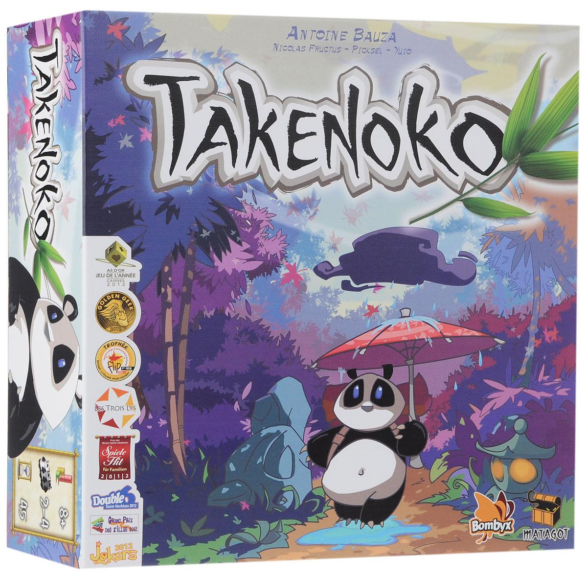Matagot Настольная игра Такеноко3558380013921Настольная игра Matagot Такеноко - игра о японском садоводстве, во время которой игроки ухаживают за небольшими участками земли, выращивая три сорта бамбука: зеленый, желтый и розовый. Причем, пластиковый бамбук на самом деле возвышается над игровым полем, поскольку составляется из подобных конструктору фрагментов. Задача, стоящая перед игроками - с помощью императорского садовника держать плантацию бамбука в порядке для почетного гостя, дипломатического подарка, прибывшего из Китая, прожорливой большой панды. Чтобы утолять голод этого священного животного, и нужен бамбук. Каждый ход игроки смотрят, какая нынче стоит погода, что задается выпавшей на специальном кубике гранью, а затем по очереди выполняют по два из пяти доступных действий. Можно подготовить под бамбук еще один участок земли, примкнув к сложившемуся игровому полю новый шестиугольник; подвести к участкам воду, положив палочку синего цвета на границу между двумя шестиугольниками земли;...