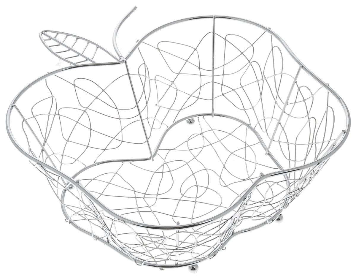 Фруктовница Guterwahl Яблоко, фигурная, 29 х 27 х 10,5 смYSH-003-23Оригинальная фруктовница Guterwahl Яблоко, изготовленная из нержавеющей стали с хромированной поверхностью, идеально подходит для хранения и красивой сервировки любых фруктов. Современный дизайн фруктовницы идеально впишется в интерьер вашей кухни. Изделие рекомендуется мыть вручную с применением любых неабразивных моющих средств. Не рекомендуется использование металлических щеток для чистки. Размер (по верхнему краю): 29 х 27 см. Высота: 10,5 см.