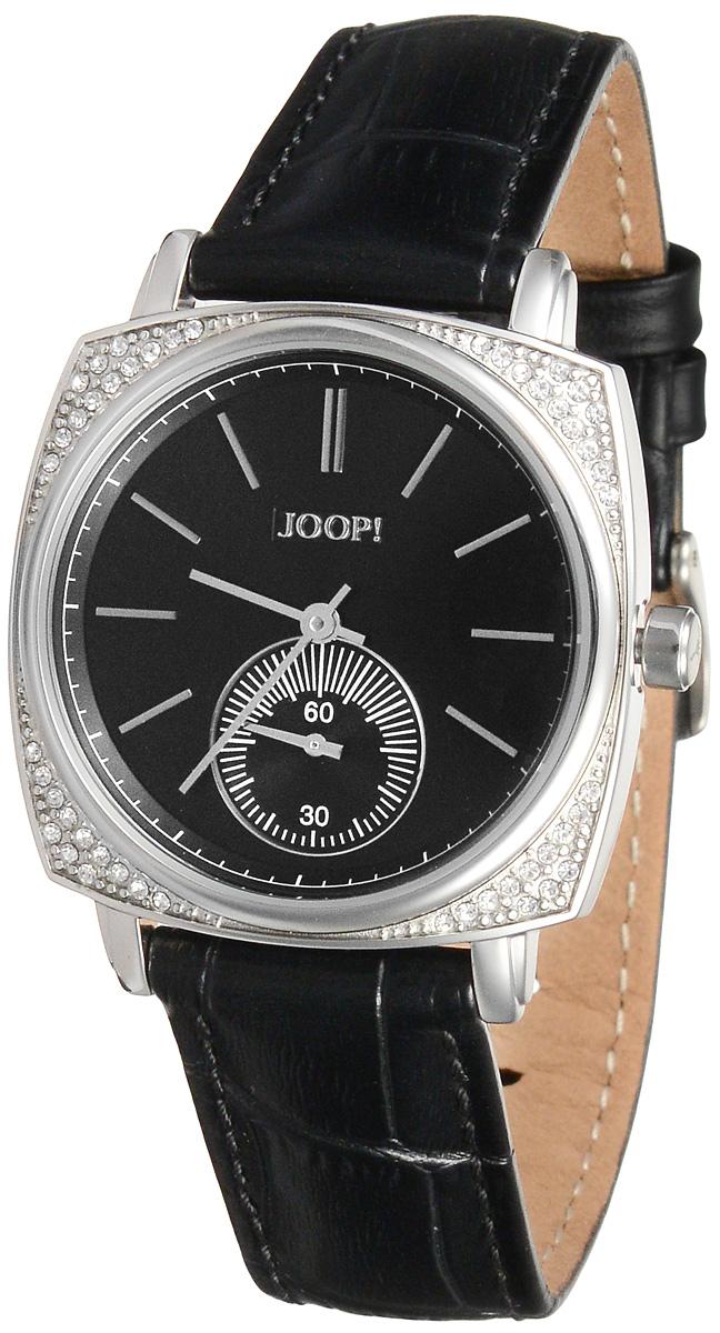 Часы женские наручные JOOP!, цвет: серебристый, черный. JP101201F06JP101201F06Наручные часы JOOP! изготовлены из материалов самого высокого качества на базе новейших технологий. Часы оснащены точным кварцевым механизмом. Корпус, выполненный из нержавеющей стали, инкрустирован кристаллами и защищен минеральным стеклом. Изделие дополнено ремешком из натуральной лакированной кожи. Ремень оснащен застежкой-пряжкой с возможностью регулировать длину изделия. Циферблат круглой формы оснащен отметками, а также имеет две стрелки - часовую и минутную. Кроме того, часы оснащены дополнительным циферблатам с функцией секундомера. Изделие укомплектовано в фирменный футляр с названием бренда. Стильные часы подчеркнут изящество женской руки и отменное чувство стиля их обладательницы.