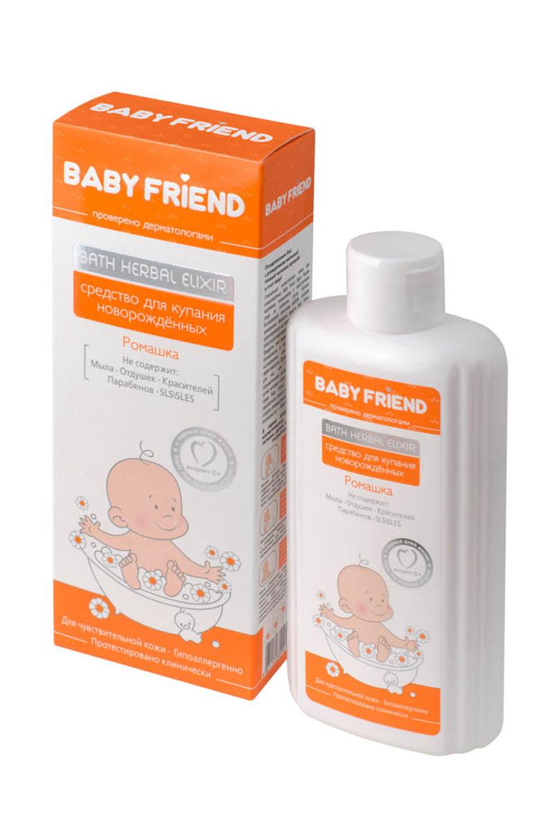 Baby Friend Средство для купания новорожденных ромашка 300 млE091-511Средство представляет собой концентрированный раствор экстракта Ромашки аптечной с добавлением смягчающих, заживляющих, увлажняющих компонентов (Бетаин, Аллантоин, D-пантенол). Рецептура сбалансирована таким образом, что при разведении в воде формируется оптимальная уходовая среда для кожи младенца. Известные всем противовоспалительные, вяжущие свойства Ромашки помогают справиться с уже имеющимися проявлениями зуда, дерматита, потницы, и, при регулярном использовании, предупредить их появление. Использование средства может выступать современной альтернативой привычному купанию младенцев в отварах трав, только без утомительного заваривания, процеживания и охлаждения сухих сборов лекарственных трав.