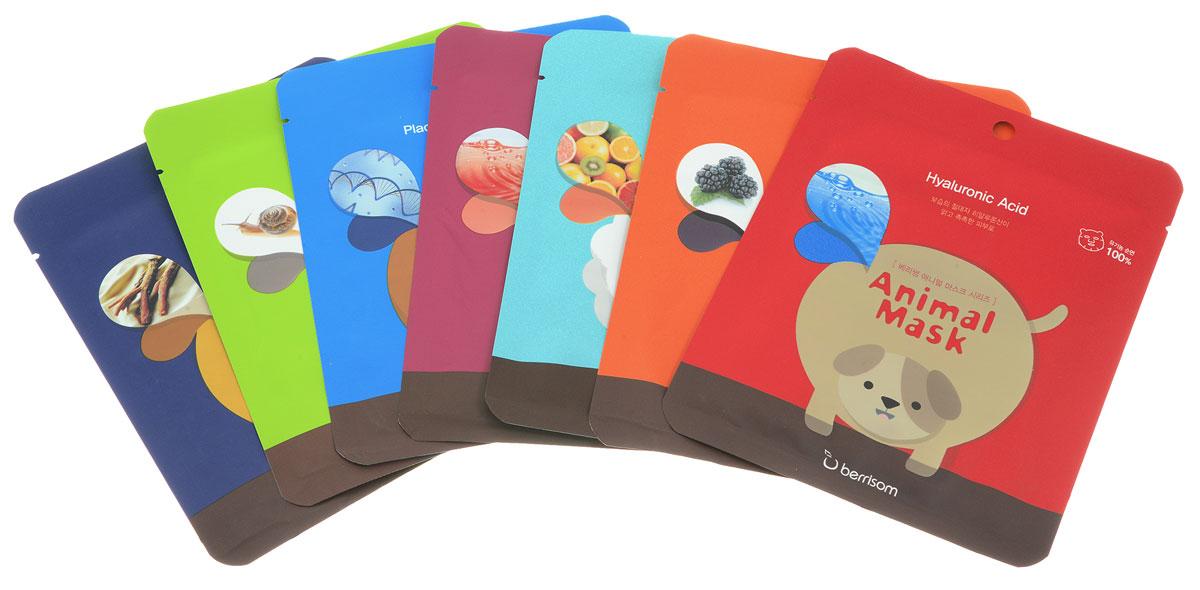 Berrisom Набор масок Animal mask (маска (панда), 25 мг + маска (кошка), 25 мг + маска (собачка), 25 мг + маска (обезьянка), 25 мг + маска (енот), 25 мг + маска (овечка), 25 мг + маска (тигр), 25 мг)8809211650996