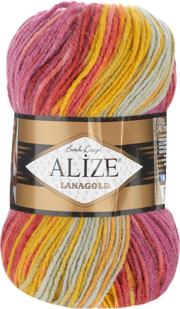 Пряжа для вязания Alize Lanagold Batik Design, цвет: сиреневый, розовый, серый (5673), 240 м, 100 г, 5 шт364096_5673Полушерстяная пряжа Lanagold Batik Design - настоящая зимняя классика. Изделия из такой пряжи отлично поднимает настроение разнообразием своих красок. Большой выбор вариантов меланжевых расцветок позволяет создавать от веселых детских шапочек до элегантных женских пончо и солидных мужских пуловеров. С пряжей Lanagold Batik Design не требуется вывязывания узоров высокой сложности, так как пряжа эта отлично смотрится в любых косах и даже в простой чулочной вязке. Благодаря секционно окрашенной нити изделия получаются весьма оригинальными, стильными и нарядными. Кроме того, пряжа удобна в работе: средней толщины ниточка плотно скручена, упругая, гладкая, легко ложится и не слоится - с ней даже неопытная рукодельница справится без труда. Рекомендуемый размер спиц: №4-6 мм. Состав: 51% акрил, 49% шерсть.