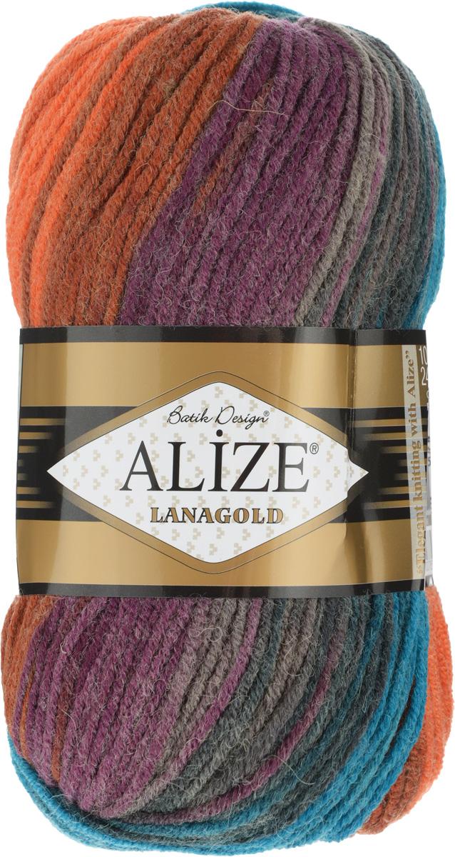 Пряжа для вязания Alize Lanagold Batik Design, цвет: бирюзовый, коричневый, оранжевый (4209), 240 м, 100 г, 5 шт364096_4209Полушерстяная пряжа Lanagold Batik Design - настоящая зимняя классика. Изделия из такой пряжи отлично поднимает настроение разнообразием своих красок. Большой выбор вариантов меланжевых расцветок позволяет создавать от веселых детских шапочек до элегантных женских пончо и солидных мужских пуловеров. С пряжей Lanagold Batik Design не требуется вывязывания узоров высокой сложности, так как пряжа эта отлично смотрится в любых косах и даже в простой чулочной вязке. Благодаря секционно окрашенной нити изделия получаются весьма оригинальными, стильными и нарядными. Кроме того, пряжа удобна в работе: средней толщины ниточка плотно скручена, упругая, гладкая, легко ложится и не слоится - с ней даже неопытная рукодельница справится без труда. Рекомендуемый размер спиц: №4-6 мм. Состав: 51% акрил, 49% шерсть.