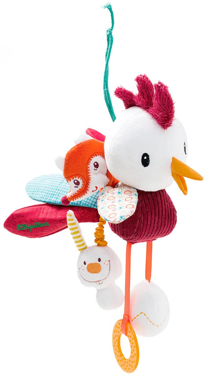 Lilliputiens Мягкая развивающая игрушка Петушок Джон86613Мягкая развивающая игрушка Lilliputiens Петушок Джон наполнена сюрпризами: зеркальце, разнообразные звуки, колокольчик. Послушайте как зазвенит колокольчик, стоит только ему потрясти гребешком! А за его красивым хвостом прячется лиса Алиса и кролик. Только взгляните на лапки петушка! На одной из них - прорезыватель, а на другой - яйцо. Потрясите его, и вы услышите, как пищит цыпленок. Игрушка изготовлена из качественных и безопасных материалов. Мягкая развивающая игрушка Lilliputiens Петушок Джон развивает мелкую моторику пальцев рук, тактильные ощущения, слух и зрение.