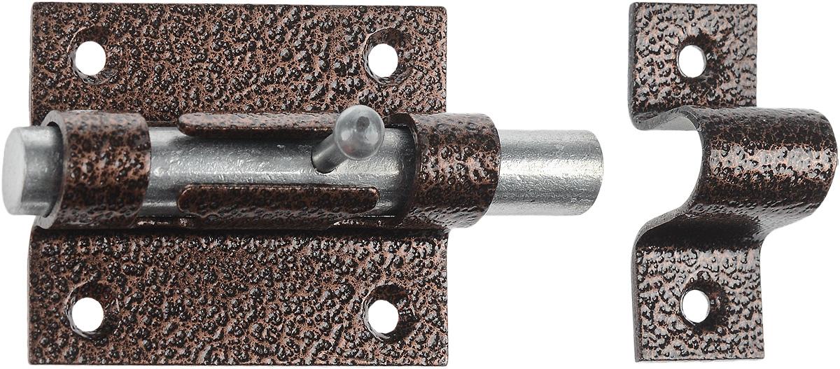 Засов накладной, цвет: медный66677Засов накладной предназначен для запирания дверей и т.п. Можно устанавливать как на металлические двери так и на деревянные. Изделие покрыто стойкой полимерной краской.