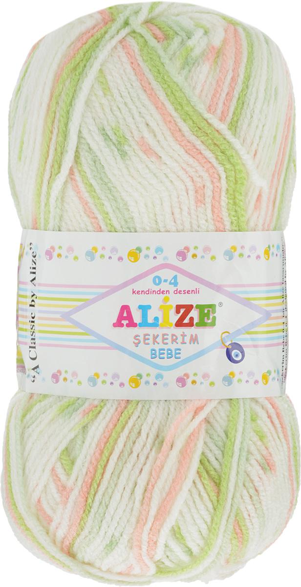 "Пряжа для вязания Alize ""Sekerim Bebe"", цвет: белый, светло-зеленый, персиковый (512), 320 м, 100 г, 5 шт"