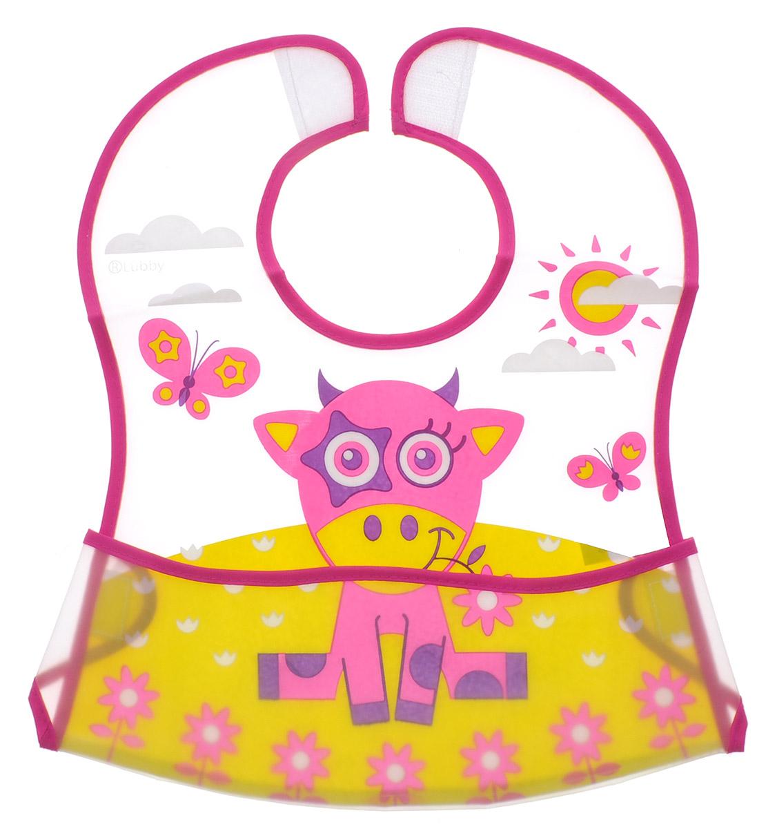 Lubby Нагрудник на липучке В мире животных цвет розовый желтый