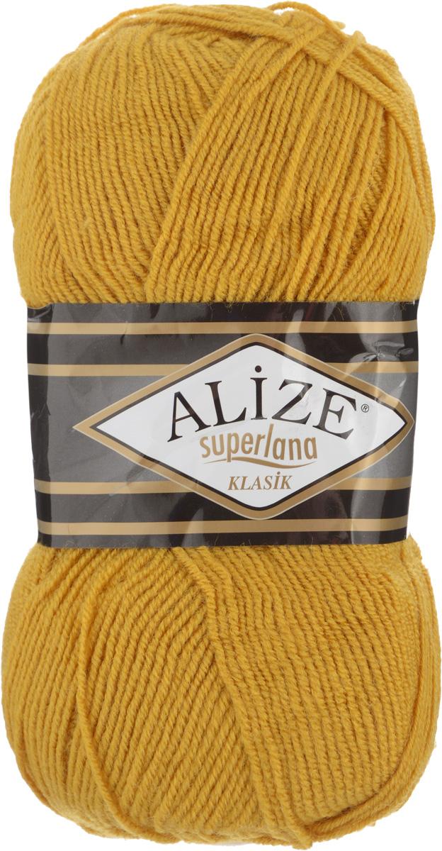 Пряжа для вязания Alize Superlana Klasik, цвет: горчичный (02), 280 м, 100 г, 5 шт692917_02Классическая пряжа Alize Superlana Klasik имеет среднюю толщину нити и состоит из 25% шерсти и 75% акрила. Пуловеры, платья, кардиганы, шапки и шарфы из этой пряжи отлично держат форму и прекрасно согреют вас в холодную погоду. Пряжа Alize Superlana Klasik - это универсальность: подойдет для мастериц различного уровня. Благодаря составу и скрутке петли отлично ложатся одна к другой, вязаное полотно получается ровное и однородное. Рассчитана на любой уровень мастерства, но особенно понравится начинающим мастерицам - благодаря толстой нити пряжа Alize Superlana Klasik позволяет быстро связать простую вещь. Структура и состав пряжи максимально комфортны для вязания. Рекомендуется для вязания крючком и на спицах 3-4 мм. Состав: 75% акрил, 25% шерсть. Количество мотков: 5 шт.