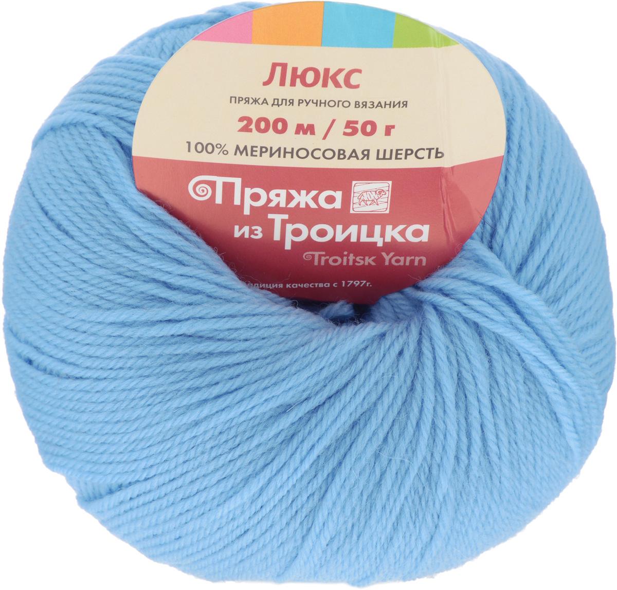Пряжа для вязания Люкс, цвет: светло-голубой (0300), 200 м, 50 г, 10 шт366072_0300Пряжа для вязания Люкс изготовлена из плотно скрученных нитей мериносовой шерсти и акрила. Изделия из этой пряжи не линяют и сохраняют после стирки не только цвет, но и форму. Пряжа идеально подходит для вязания шарфов, шапок, варежек, пуловеров, шалей. С такой пряжей процесс вязания превратится в настоящее удовольствие, а готовое изделие подарит уют и комфорт. Состав: мериносовая шерсть 20%, акрил 80%. Рекомендуемые спицы: 2,25 мм.