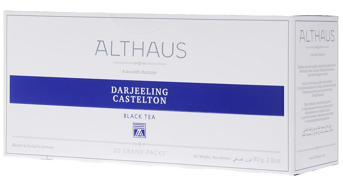 Althaus Grand Pack Darjeeling Castleton черный чай в пакетиках, 20 штTALTHB-GP0031Althaus Darjeeling Castleton (Даржилинг Кастелтон) — высокогорный черный индийский чай, собранный на одной из самых знаменитых плантаций. Для этого сорта характерен мягкий вкус с легким ореховым оттенком и нежным ароматом. Второй сбор чая Даржилинг собирают с конца мая до начала июля. Он обладает более крепким и насыщенным букетом. Даржилинг Кастелтон — дневной чай, он станет прекрасным дополнением к обеду.