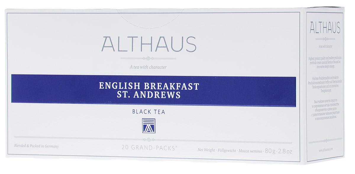 Althaus Grand Pack English Breakfast черный чай в пакетиках, 20 штTALTHB-GP0028Althaus English Breakfast (Инглиш Брэкфаст Сент Эндрюс) — купаж из лучших цейлонский сортов, традиционный чай для завтрака. Инглиш Брэкфаст Сент Эндрюс славится своим крепким насыщенным вкусом и ярким ароматом.