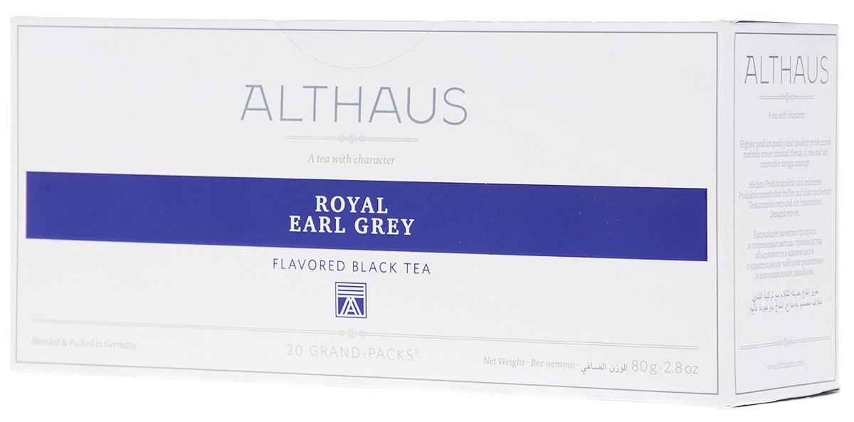 Althaus Grand Pack Royal Earl Grey ароматизированный чай в пакетиках, 20 штTALTHB-GP0033Althaus Royal Earl Grey (Ройал Эрл Грэй) — это купаж из лучших индийских и цейлонских сортов черного чая, дающий насыщенный классический вкус с элегантными цитрусовыми нотками бергамота. Слава традиционного английского черного чая с легким, пряно-бальзамическим ароматом бергамота давно пересекла британские границы и распространилась по всему миру.