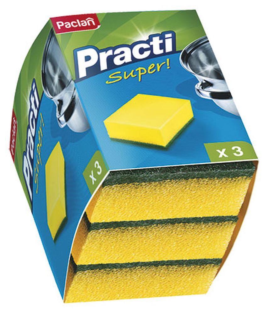 Губки для посуды Paclan, 3 шт320014/320017/135511/320019Чистит основательно и бережно, хорошо впитывает жидкость, позволяет расходовать минимальное количество чистящих средств.