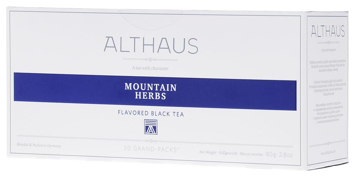 Althaus Grand Pack Mountain Herbs травяной чай в пакетиках, 20 штTALTHB-GP0045Althaus Grand Pack Mountain Herbs (Горные травы) - купаж лучших сортов черного чая с плантаций Индии и Цейлона, дополненный бережно высушенными листочками горного чабреца. Grand Pack - современная концепция заваривания листового чая в запечатанных чайных фильтрах большего размера. Листья при заварке полностью раскрывают свой вкус и аромат.